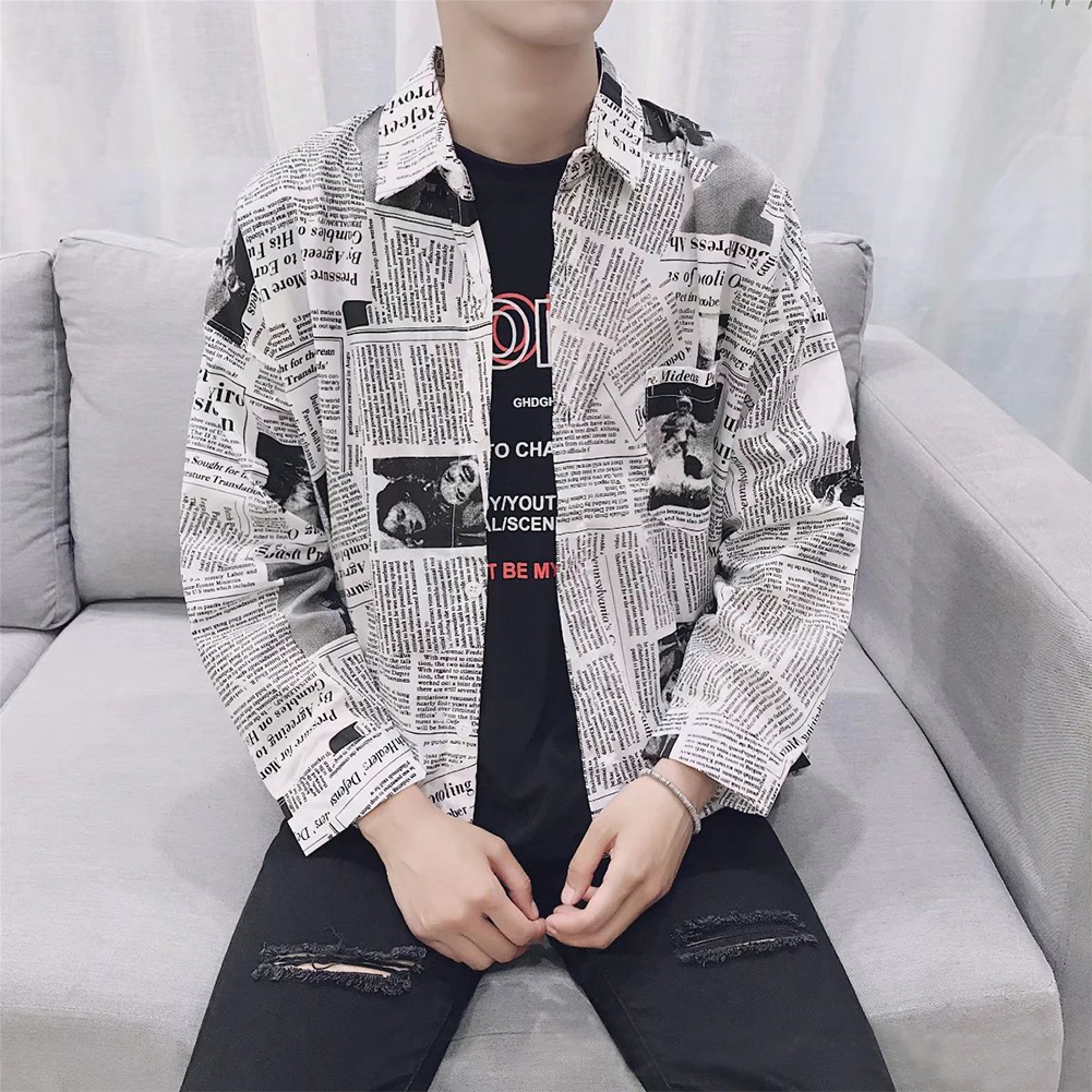 Slim Fit Men Shirts Tops Boy Fashion Splicing Spring Square Neck Daily Long Sleeve Male Clothes Newspaper Printing Casual