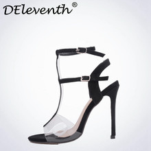 DEleventh Sexy Woman sandals 2017 summer Buckle Strap Shoes Sandals Open toe Stiletto High Heels Shoes sandales zapato mujer