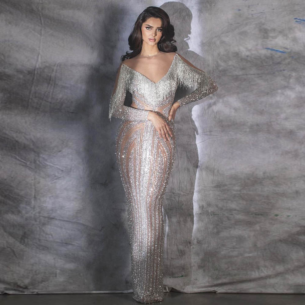 Robe De Soiree Nude Fringe Long Sleeve   Evening     Dress   Mermaid   Evening   Gown Formal   Dresses   Zipper Back