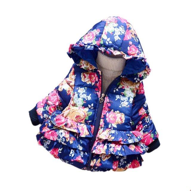 Outono Inverno Crianças Meninas Do Bebê Inverno Quente Engrosse Com Capuz Floral Para Baixo do Revestimento do Revestimento Snowsuit Outwear