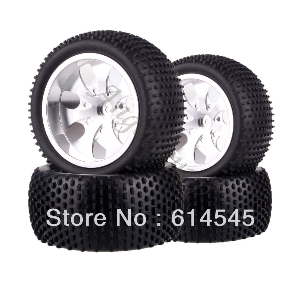 цена на DQR 4x RC Monster Truck Bigfoot Metal Wheel Rim & Tyre Tires 12MM HEX 88124 1:10 RC123 Store