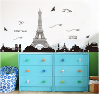 Saturday Mall Fashion Paris Eiffel Tower Wall Stickers Home Decor For Bedroom Living Room Sofa