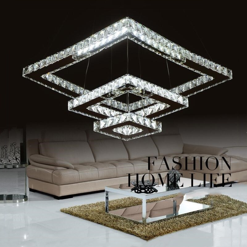 Luxurious Silver Led Ring Square Crystal LED Chandelier Led Lamp / Led Lustre Light/ Lighting Fixture Modern LED Chandeliers