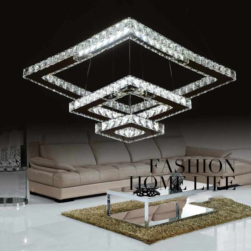 Luxurious Silver led ring Square Crystal LED Chandelier led Lamp / led lustre light/ lighting Fixture Modern LED chandeliers