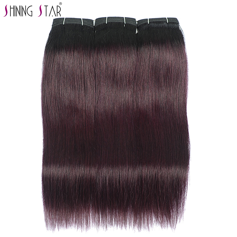 Shining Star Pre-Colored Grape Purple Human Hair Weave Bundles Dark Burgundy Red Brazilian Straight Hair Bundles 26 Inch Nonremy(China)