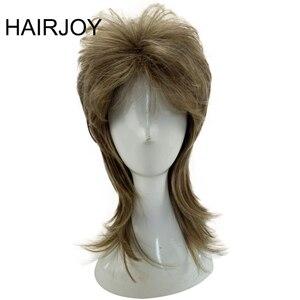 Image 1 - HAIRJOY erkek peruk katmanlı kıvırcık saç orta uzunlukta yüksek sıcaklık Fiber sentetik adam Cosplay peruk 7 renkler mevcut