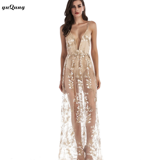 19455a73c640 yuqung Sexy embroidery floral women long dress Deep v neck spaghetti strap maxi  dresses see through mesh party clubwear L91