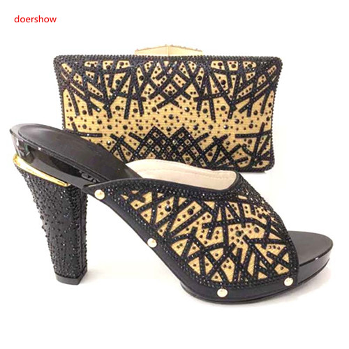 doershow latest  Italian Ladies Shoe and Bag Set Decorated with Rhinestone Elegant Nigerian Shoes and Bag Sets for Women HA1-26doershow latest  Italian Ladies Shoe and Bag Set Decorated with Rhinestone Elegant Nigerian Shoes and Bag Sets for Women HA1-26