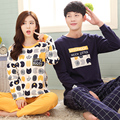 Плюс szie M-2XL пару пижамы набор осенне-зимней моды спортивный костюм хлопка с длинными рукавами пижамы мужчины и женщины пижамы