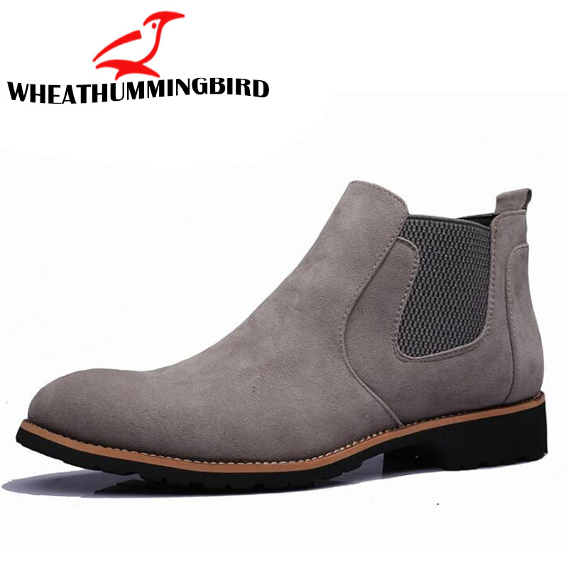 sping autumn high top shoe Boots Genuine Suede Leather Sewing Thread Men Ankle Boots Britain Style Shoes Leather Men Boots LF-81 цены