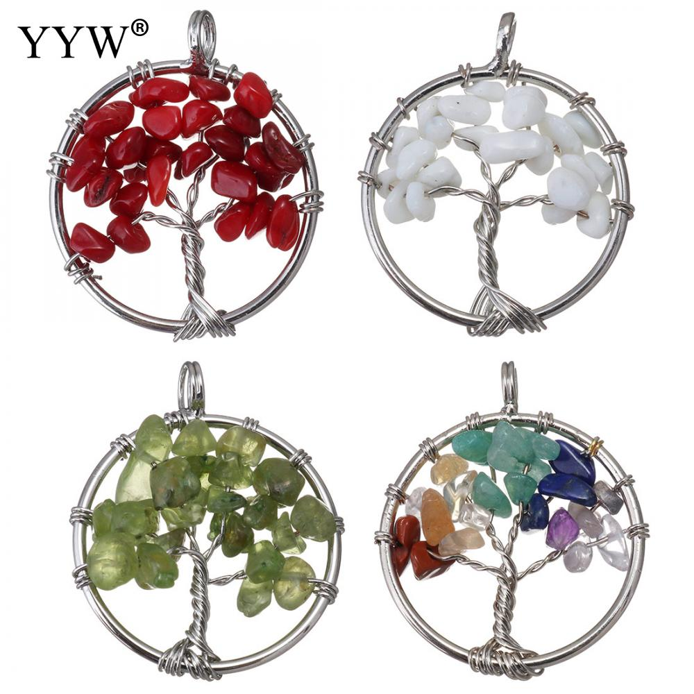 Wire Tree of Life  Crystal Natural Gemstone Chips Pendant For Necklace