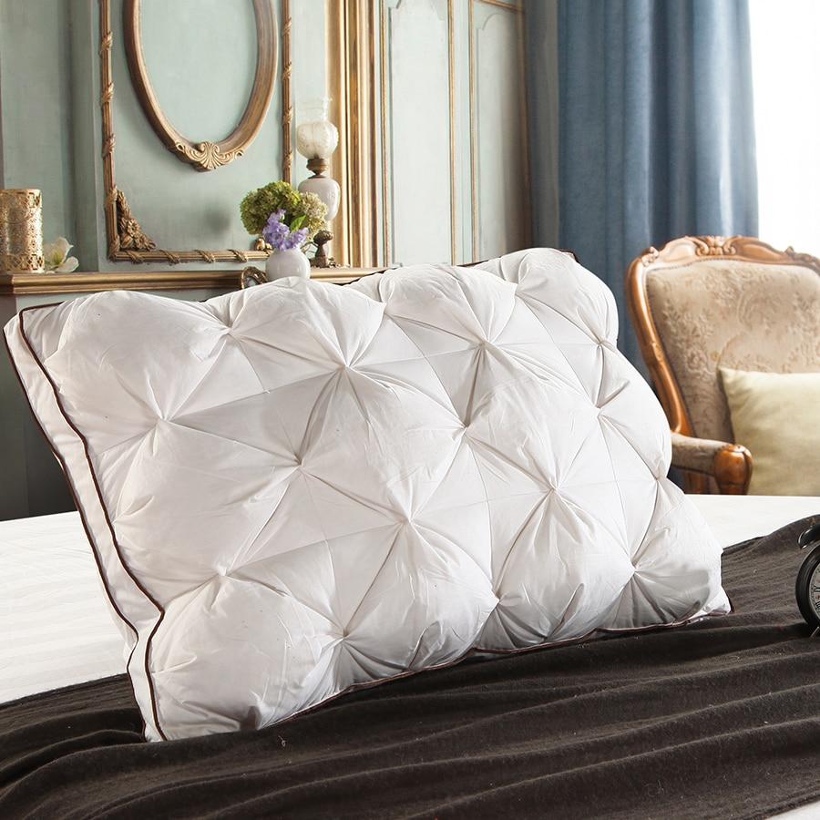 Купить с кэшбэком Peter Khanun 48*74cm Luxury 3D Style Rectangle White Goose/Duck Down Feather Bedding Pillows Down-Proof 100% Cotton Shell 038