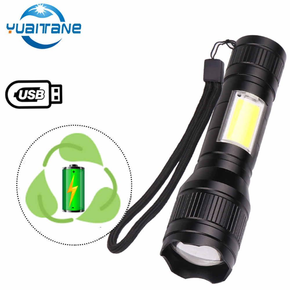 T6 COB LED Tactical USB Rechargeable Zoomable Flashlight Torch Lamp Waterproof