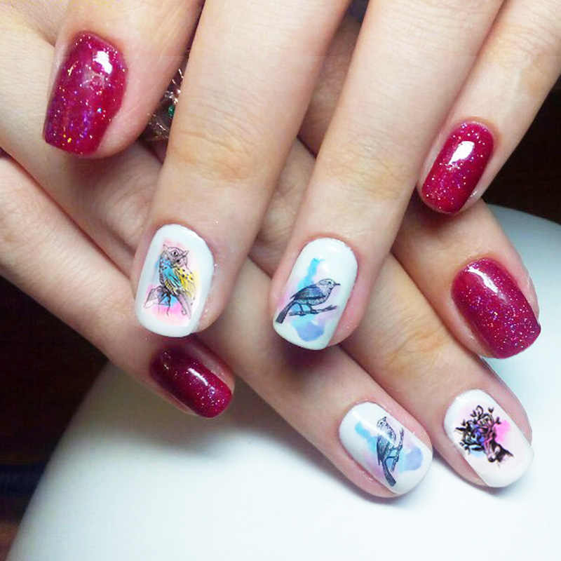 Full Beauty 1pcs Nail Sticker Dreamcatcher Owl Water Colorful Flower Nail Art Decals Decoration Stencil Manicure CHBN409-432