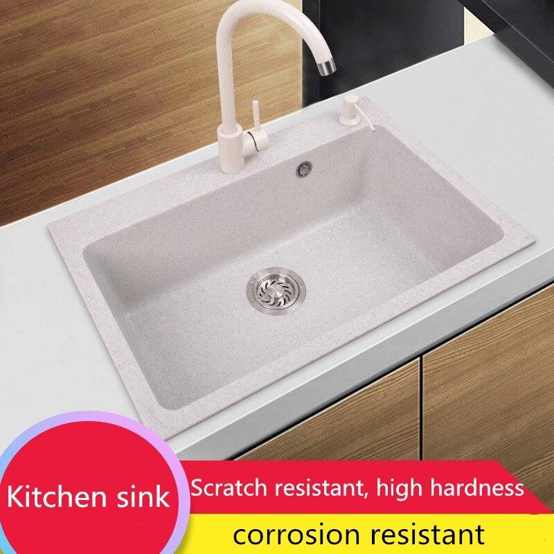 Évier simple de bassin de cuisine de marbre, lavabo multifonctionnel, accessoires de matériel de cuisine, épaisseur 10mm, pont monté, 50*43*21 cm