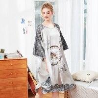 b8e0c5dae Wasteheart Spring Fashion Gray Sexy Female Robes Lingerie Sleepwear Faux  Silk Luxury Nightwear Woven Printed Bathrobe
