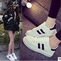 2016 nuevo durante el otoño marca casual zapatos planos cómodos zapatos de lona transpirable zapatos de moda blanco 35-39 tamaño zapatos