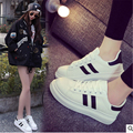 2017 New autumn women  lovers small white shoes comfortable  leather casual Walking shoes outdoor flat shoes Super star mujer