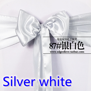 Silver White Colour High Quality Satin Sash Chair Bow For Chair Covers Sash Spandex Party And Wedding Decoration Wholesale