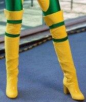 Модные яркие контрастные Цвет желтый кожаный зеленый заплатками высокие сапоги на среднем каблуке выше колена с круглым носком Женские сап