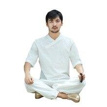 купить Men Yoga Wear Cotton Linen Loose Wide Leg Yoga Pants Yoga Top Martial Arts Tai Chi Uniform Meditation Suit Casual Set Sportswear дешево