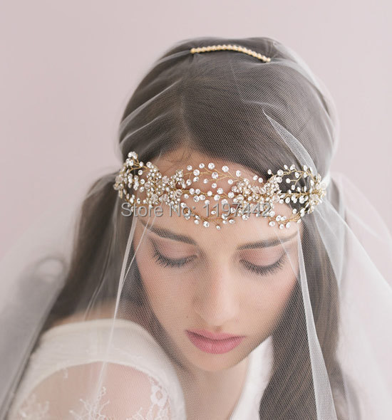 Handmade bridal tiara hair band luxury crystal jewelry rose gold