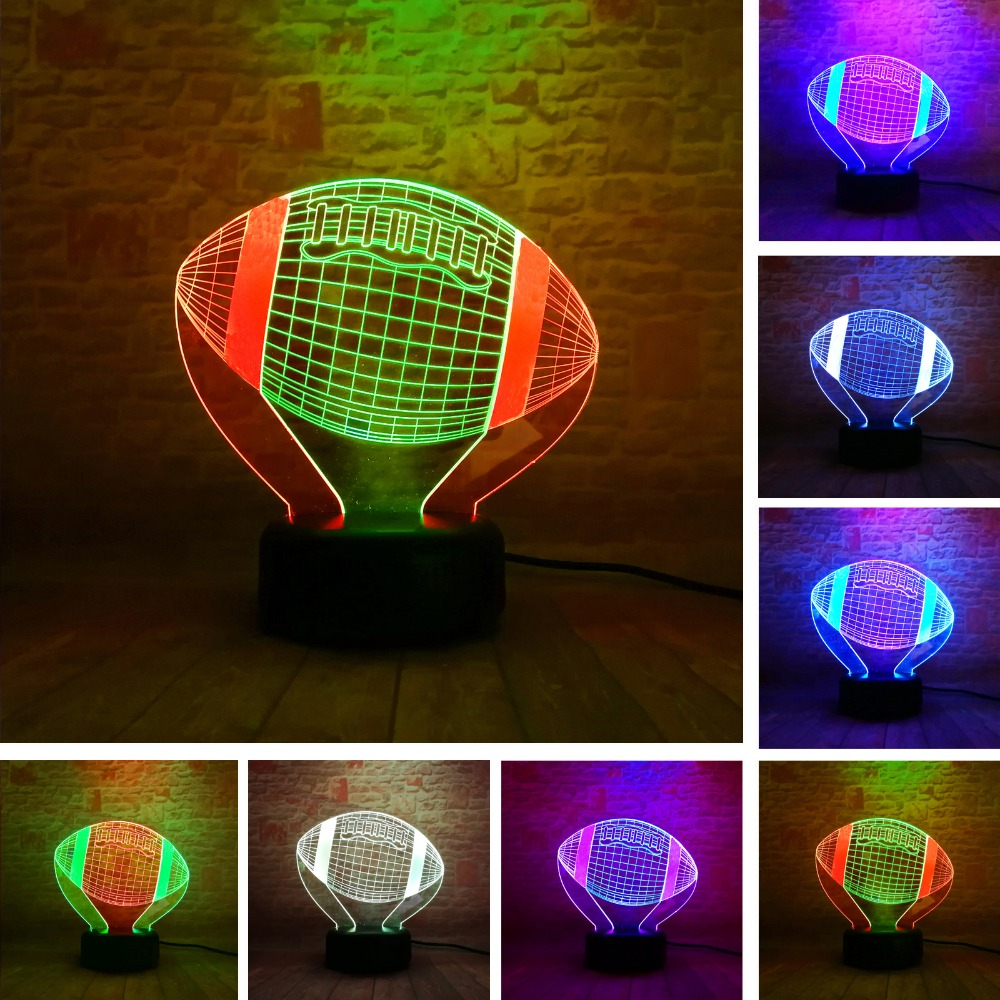 Double-Two-Colored American Football Sport Rugby Soccer LED 7 Color Night Light Booter Christmas Child Baby Kids Birthday Gifts image
