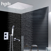 LED Lights No Battery Rainfall Inwall Concealed Shower Set Mixer Brass Round Shower Head Handheld Spray