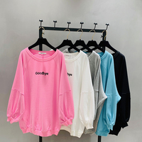 Unicorn Korean Kpop Spring Long Sleeve Women Tshirt Cotton Casual Knitted Cloth Letter Printed O neck Lantern Embroidery Loose