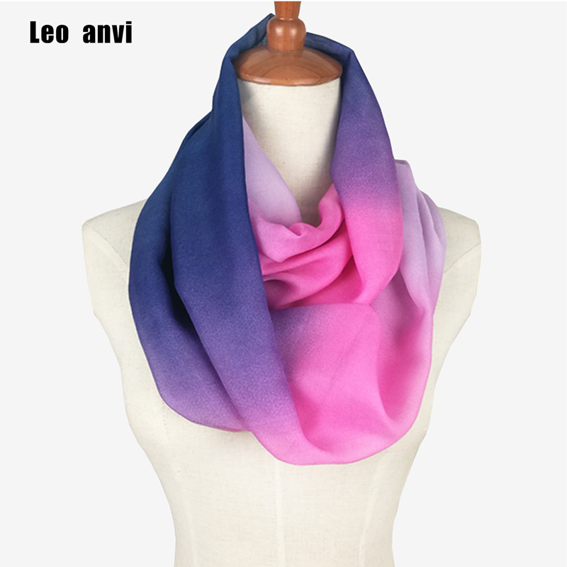 Summer Rainbow Silk Chiffon Lady Ring Loop Scarf Brand Fashion Scarf Leopard Print Infinity Tube Scarves For Women Femme