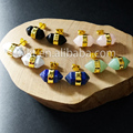 WT-E139 Wholesale Natural stone studs lapis turquoise quartz stone fashion studs