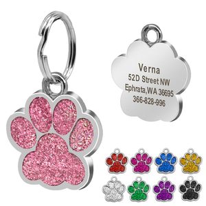 Image 2 - Custom Dog Tag Engraved Pet Dog Collar Accessories Personalized Cat Puppy ID Tag Stainless Steel Paw Name Tags Pendant Anti lost