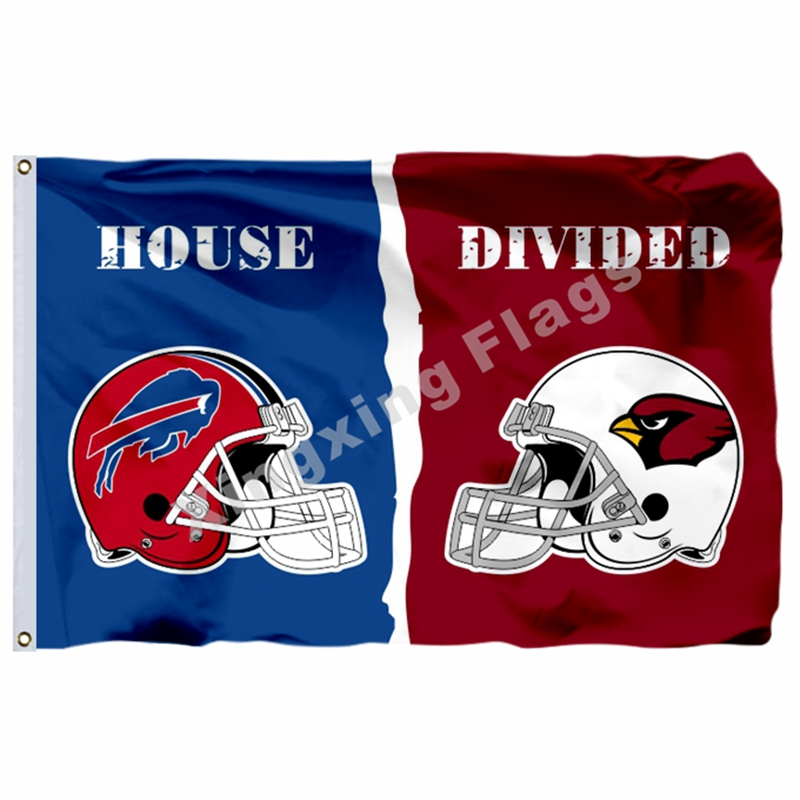 Arizona Cardinals Buffalo Bills Helmets House Divided Flag 3ft X 5ft Polyester NFL1 Banner Size No.4 144*96cm Custom Flag