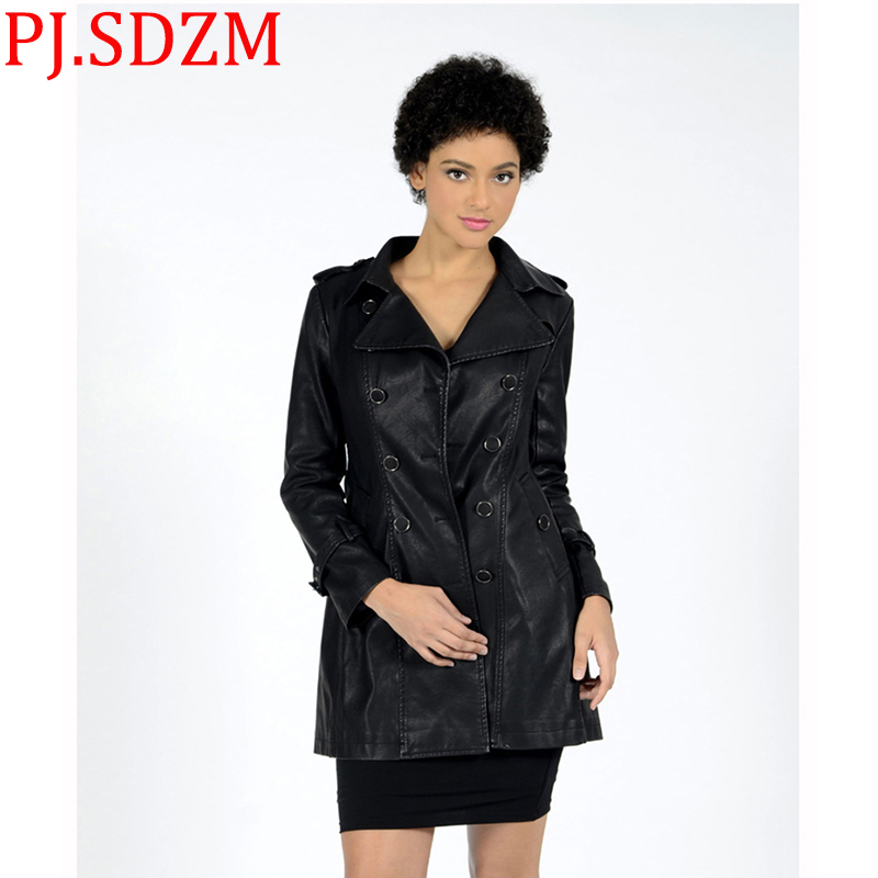 Europe Women Medium Long Faux   Leather   PU Jackets Double-breasted Slim Waist Trench Coat Black Outerwear Long Sleeve Moto & Biker