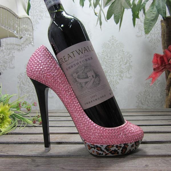 de8f38164fbf Resin High Heel Shoe Wine Bottle Holder With Rhinestone Pink   Silver