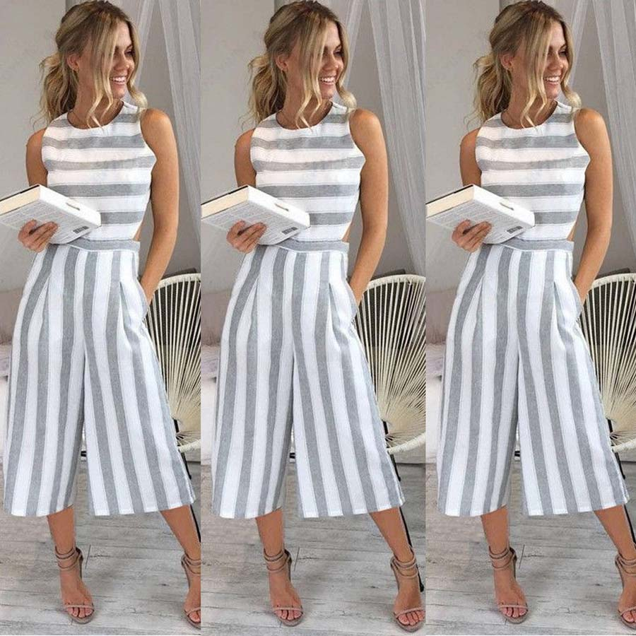 88c4cbf56172 Summer Women s Strap Vertical Striped Jumpsuit Sleeveless Backless Long  Jumpsuit Women Casual Loose Clothing