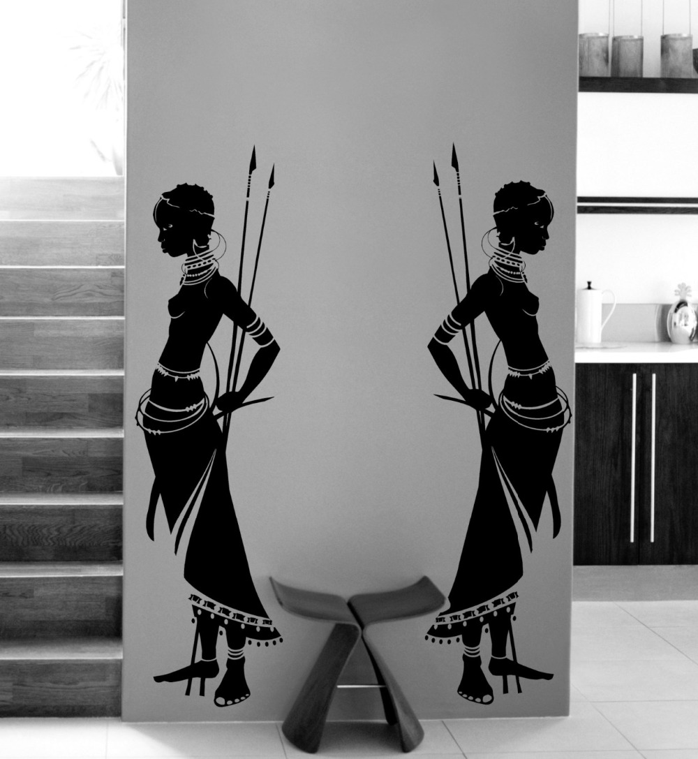 Housewares Tribal Two African woman Wall Decal Vinyl Wall <font><b>stickers</b></font> <font><b>home</b></font> decor Living Room Morden Design Wall <font><b>Art</b></font> <font><b>Mural</b></font> A190
