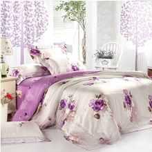 Luxury Purple Bedding Set King Queen Size 4pcs Tencel Super Soft Bedclothes Comforter/Duvet Cover Bed Sheets Pillowcase