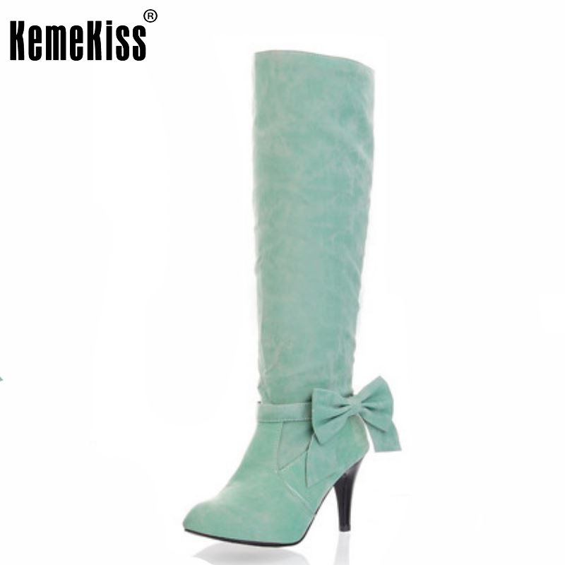 Free shipping knee boots women fashion snow winter footwear high heel shoes sexy warm ha ...