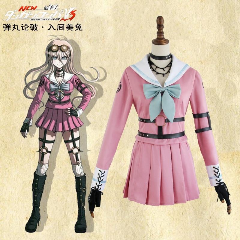 Halloween Danganronpa V3: tuerie harmonie Iruma Miu Costume de lapin japonais belle fille Costume rose uniforme scolaire d'été