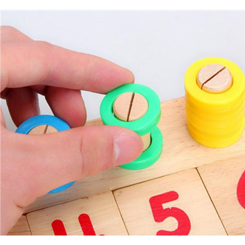 Montessori Toys Children Early Educational Learning Puzzle Wooden Toys Count Numbers Matching Early Teaching Math Toys