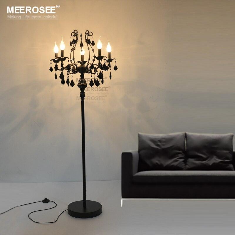 Vintage 5 Lights Crystal Floor Lamp, Floor Stand Light Fixture Cristal Lustre de cristal Candelabra Standing Lamp Centerpiece
