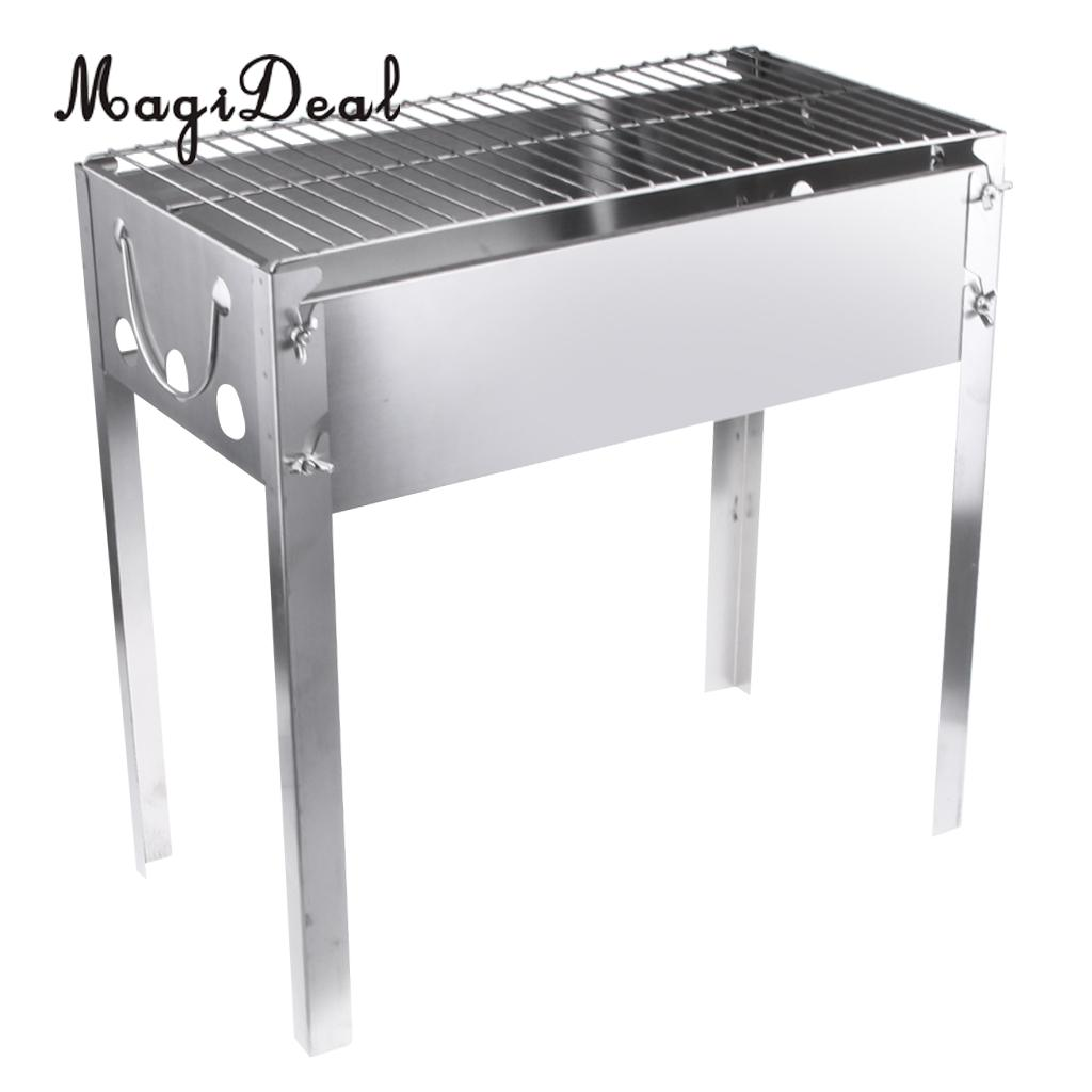 MagiDeal Portable Outdoor Camping BBQ Grill Stand Charcoal Table Broil Rack Bracket
