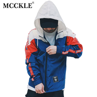MCCKLE Spring Men's Color Block Patchwork Windbreaker Hooded Jackets male HipHop Zip Up 2018 Tracksuit Jacket Fashion Streetwear