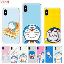 Doraemon A Blue Luxury Soft Phone Case for IPhone 7 6S X XR XS MAX 8 6 Plus 10 5 5S SE Gift Art Customized Cover Coque Cases