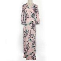 2017 Summer Women V Neck Cropped Sleeve Floral Print Pink Maxi Wrap Dress Ladies Long Beach