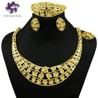 Indian Jewelry Dubai Gold Plated Jewelry Sets Women Fashion Necklace Fine Jewelry Sets Women Necklace 24k