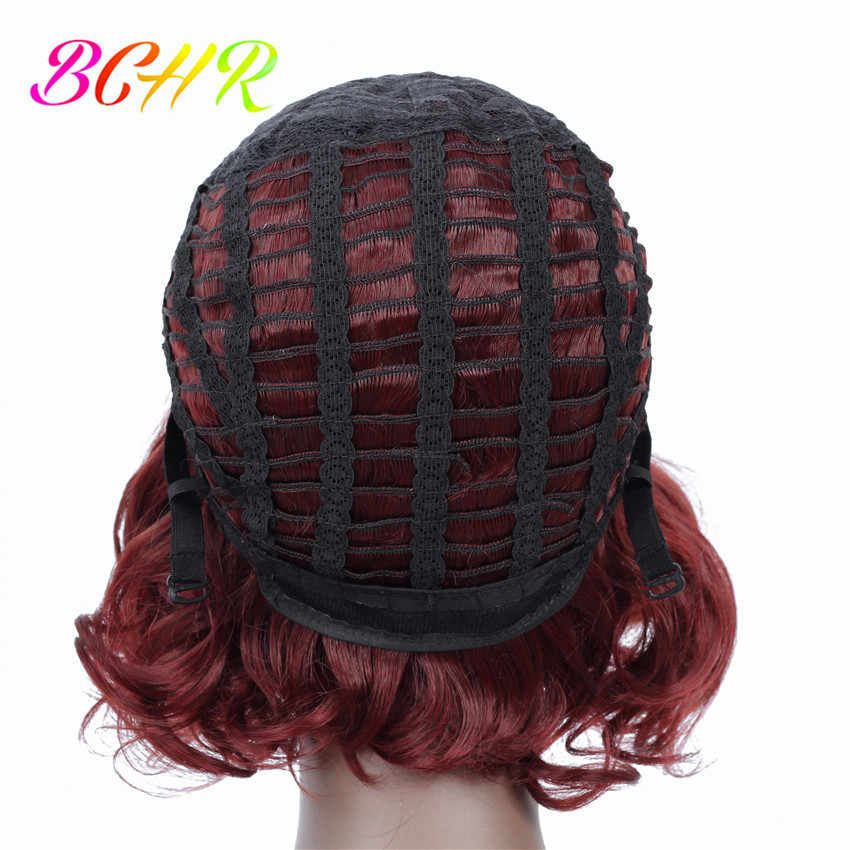 BCHR 8 дюймов короткий кудрявый парик волна Красное вино синтетический парик для женщин Омбре парик Бесплатная доставка