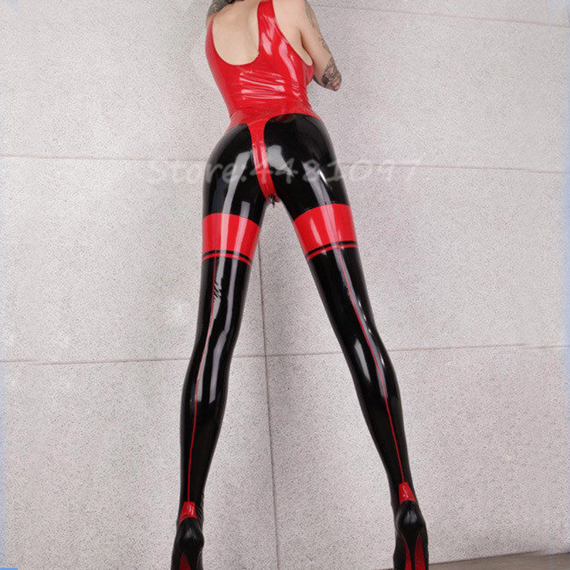 Woman 100 Natural Latex U neck Strapless Catsuit Crotch Zipper with Socks Sexy Female Rubber Jumpsuit