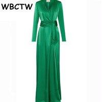 Wbctw長袖ドレス床の長さの深いvネックグリーン無地XXS-7XLプラスサイズエレガントな女